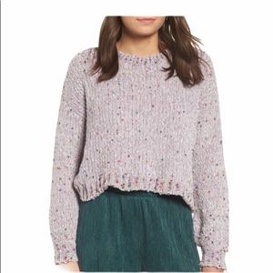 NWT Oversized cropped Grey Multi Sweater L